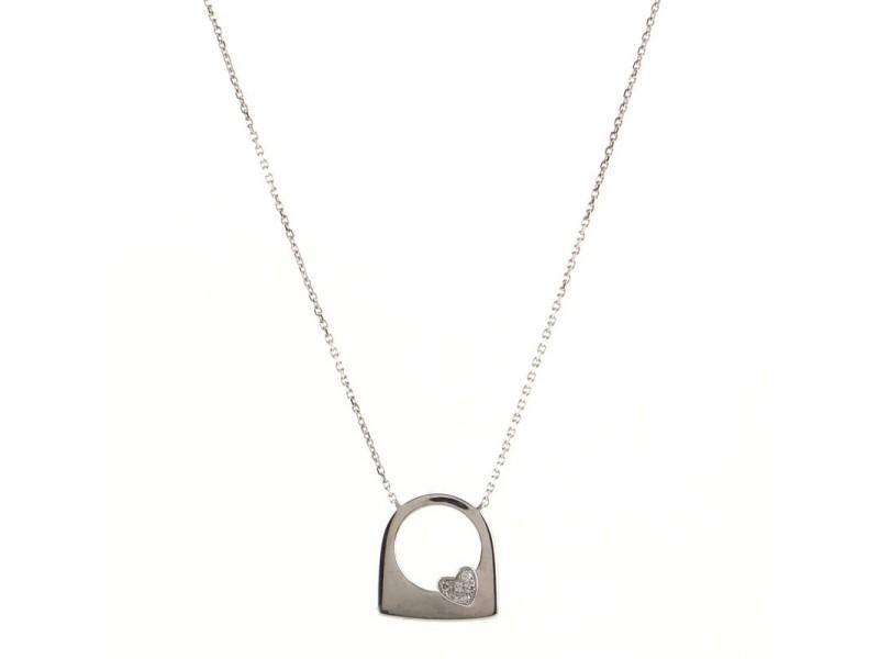 Fred Paris Success Heart Pendant Necklace 18K White Gold with Diamonds