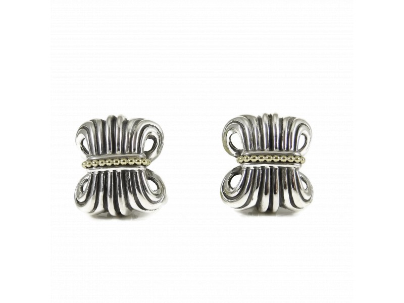 Lagos Vintage Sterling Silver 18K Yellow Gold Wheat Earrings