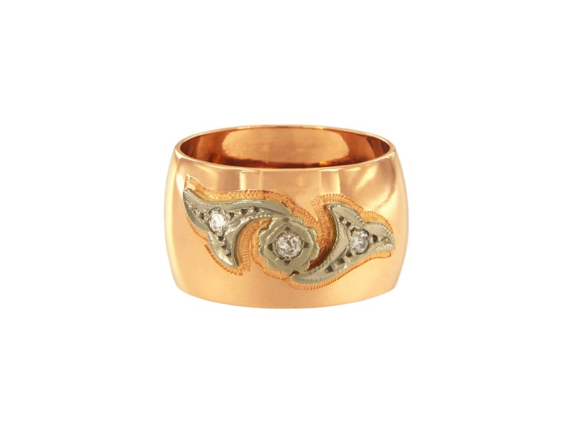 14K Rose Gold with 0.12ct Diamond Ring Size 6.5