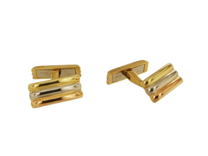 Cartier Three Tone Gold Bar Cufflinks