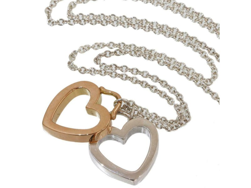 Tiffany & Co. 925 Sterling Silver & 18K Pink Gold Sentimental Double Heart Necklace