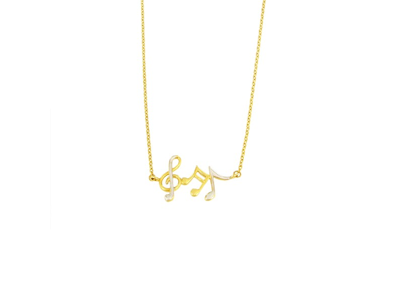 14K Yellow and White Gold Musical Notes Pendant Necklace