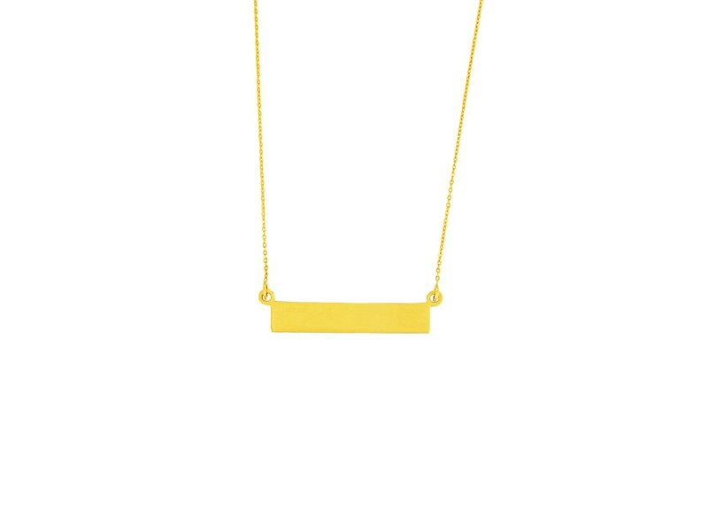 14K Yellow Gold Engravable Bar Pendant Necklace