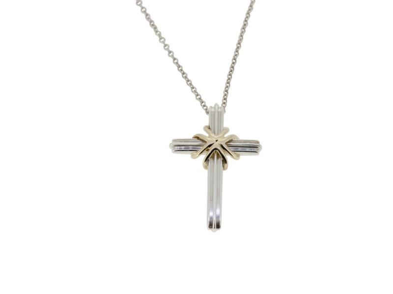 Tiffany & Co. 925 Sterling Silver Peretti Cross Necklace