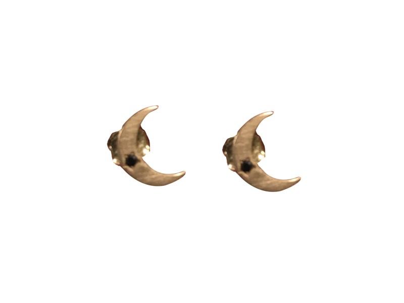 Andrea Forhman Rose Gold & Black Diamonds Moon Earrings