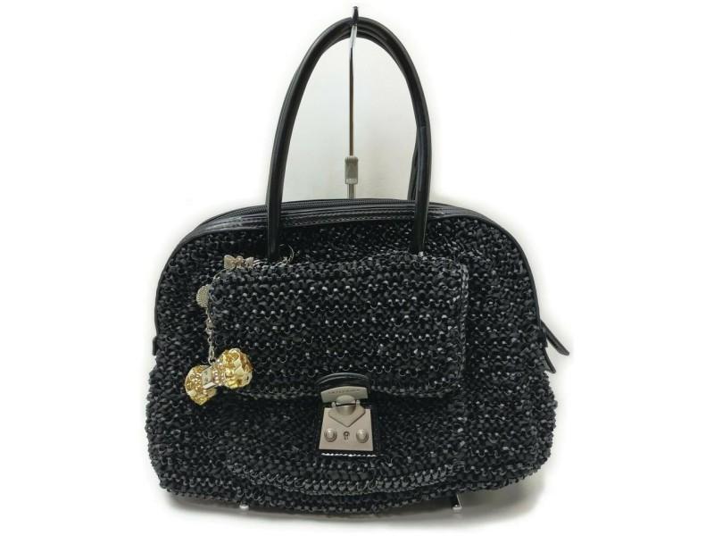 Anteprima Black Beaded Boston Bag 862284