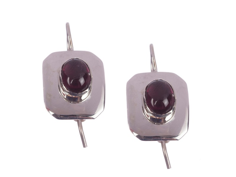 Sterling Silver & Red Garnet Cabochon Earrings