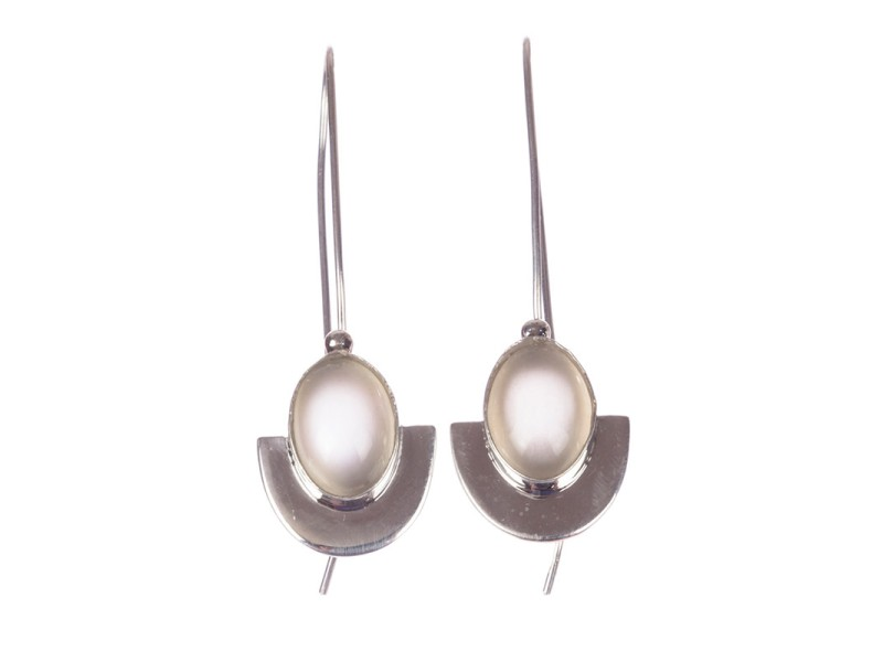 Sterling Silver and Grey Moonstone Drop Earrings