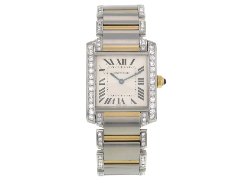 Cartier Tank Two Tone Diamond 28mm Quartz Watch