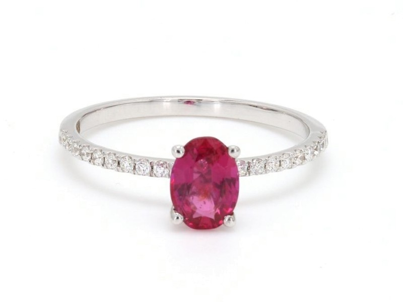 18K White Gold with 0.8ct. Ruby and 0.11ct. Diamond Ring Size 6