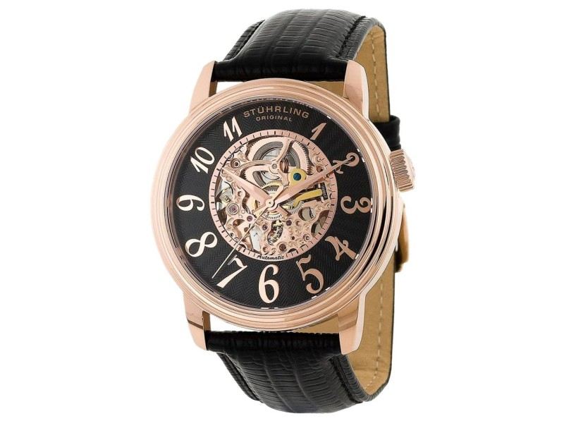 Stuhrling Delphi Apollo 107A.334541 Stainless Steel & Leather 44mm Watch