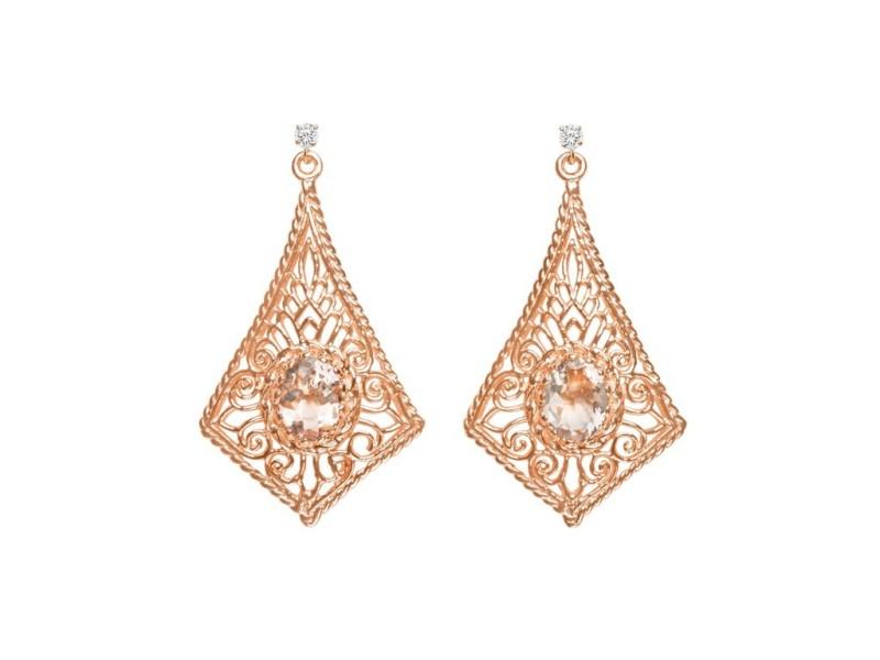 14K Rose Gold 1.66ct Oval Pink Morganite & 0.08ctw Diamond Earrings