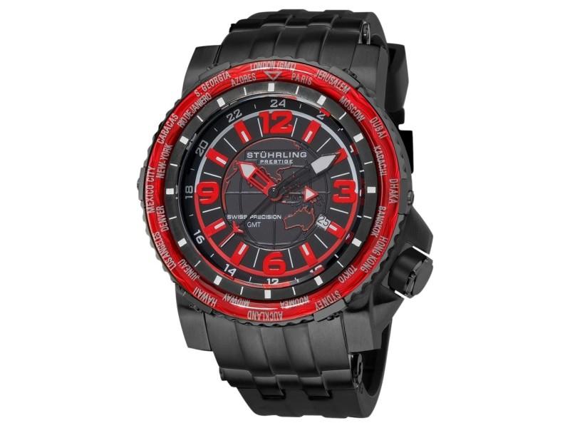 Stuhrling Prestige Marine World Timer 319177-49 Stainless Steel & Rubber 42mm Watch