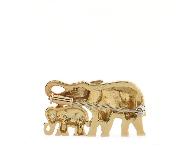 Cartier Elephant Brooch 18K Yellow Gold with Diamonds
