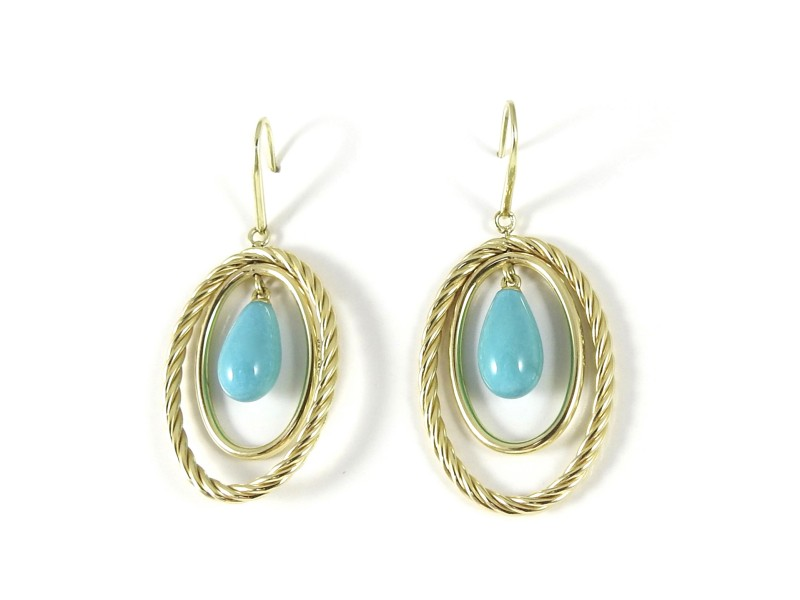 David Yurman 18K Yellow Gold Turquoise Oval Mobile Earrings