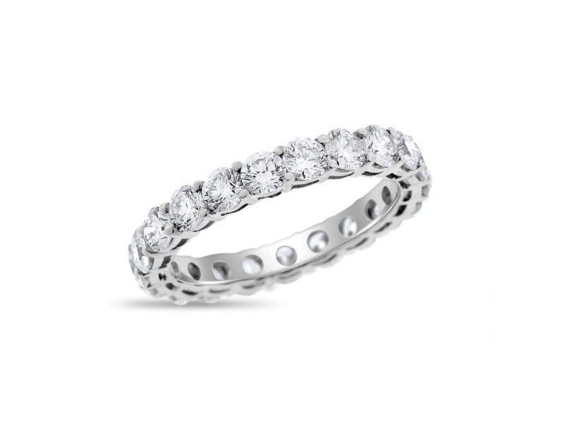 18k White Gold 1.92 Ct. Natural Superfine Diamond Eternity Band Ring Size 7