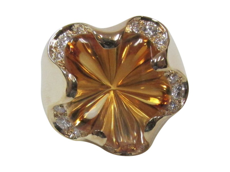 Fred of Paris 18K Yellow Gold Citrine & Diamond Ring Size 7.75