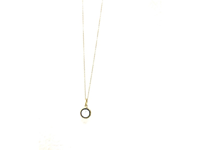 Tiffany & Co. 14K Yellow Gold & Blue Topaz Charm and Necklace
