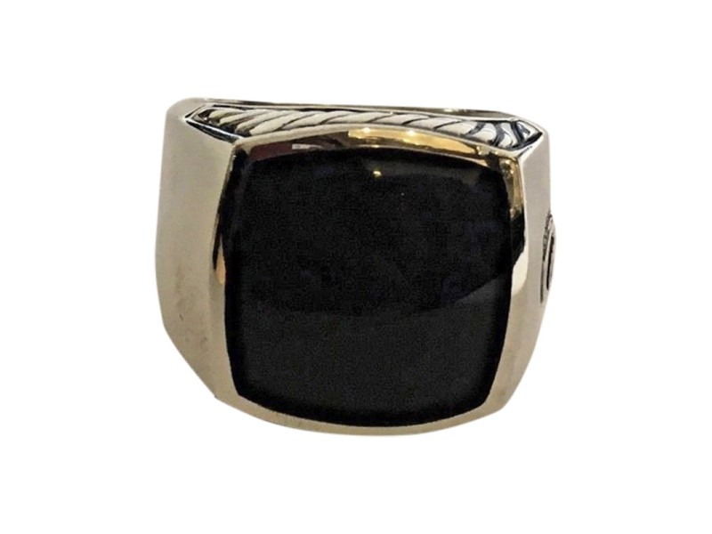 David Yurman Sterling Silver with Black Onyx Exotic Stone Signet Ring Size 10
