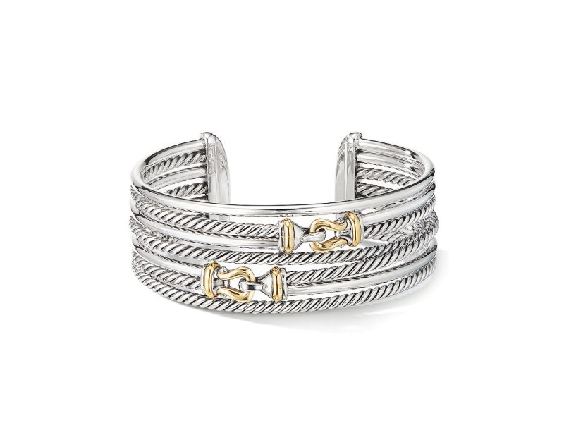 David Yurman Buckle Crossover Cuff Bracelet with 18K Yellow Gold