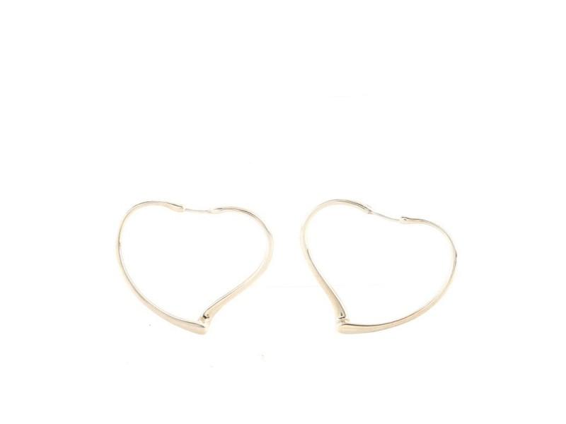 Tiffany & Co. Elsa Peretti Open Heart Hoop Earrings Sterling Silver Medium