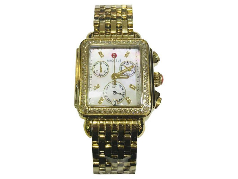 Michele Deco Chronograph WW06P000100 Gold Plated Stainless Steel and Diamond 33mm Quartz Women Watch