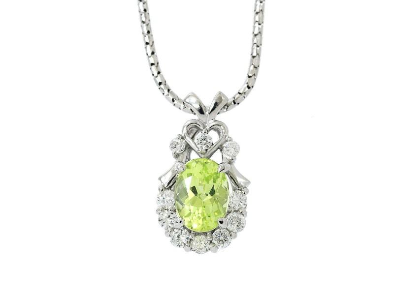 Chrysoberyl/18k White Gold/Diamond Necklace