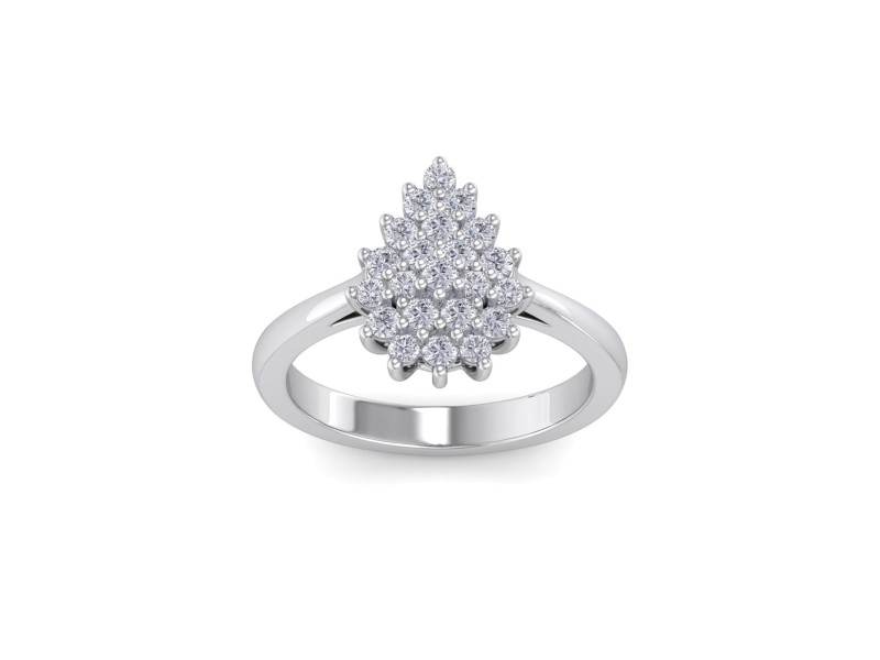 GLAM ® Pear Diamond Ring In 18K Gold with 0.59ct White Diamonds
