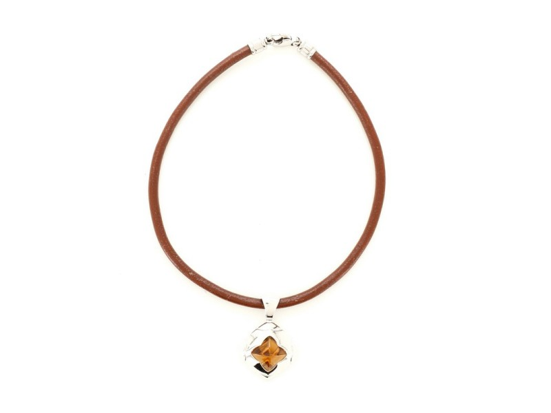 Bvlgari Pyramide Pendant Necklace 18K White Gold and Citrine