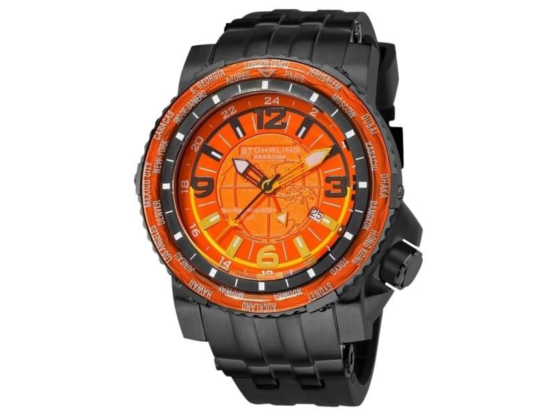Stuhrling Prestige Marine World Timer 319177-51 Stainless Steel & Rubber 50mm Watch