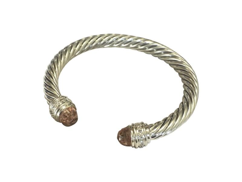 David Yurman Cable Sterling Silver Morganite and 0.48 Ct Diamond Cuff Bracelet