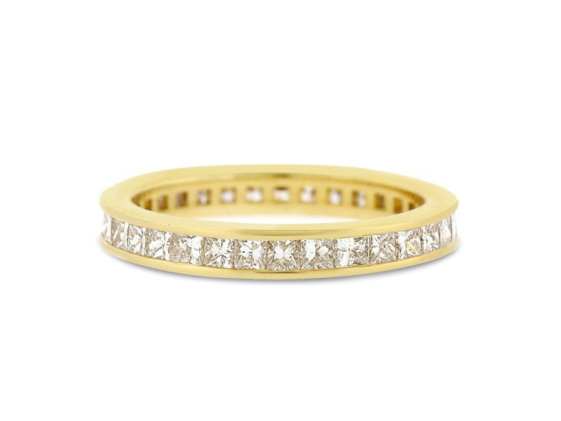 18k Yellow Gold 1.60ct. Diamond Princess Cut Eternity Band Channel Size 8