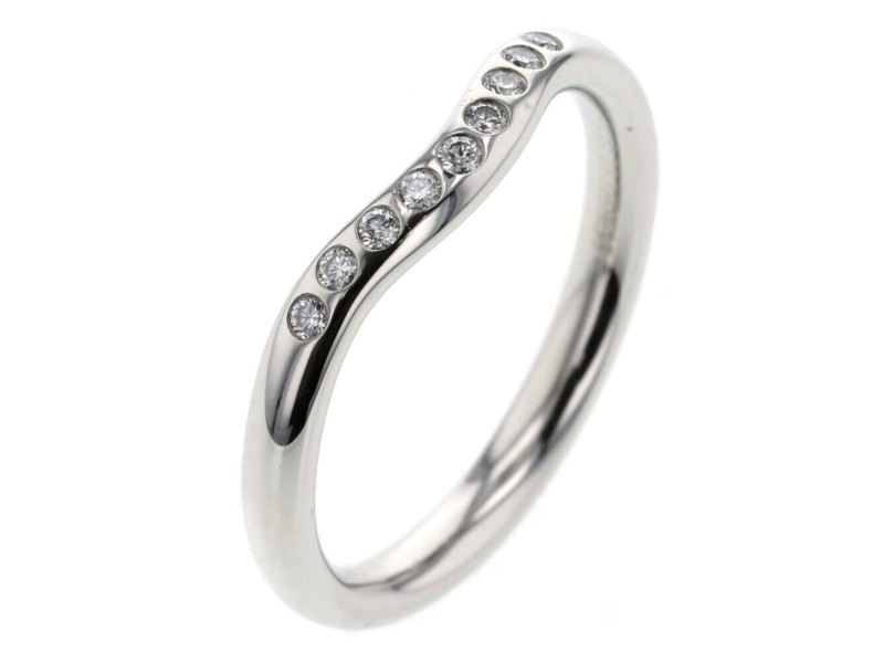 TIFFANY & Co. 950 platinum Curved band Ring TBRK-779