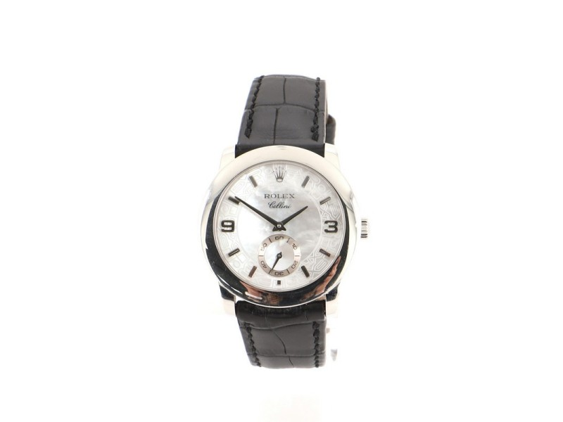 Rolex Cellini Cellinium Manual Watch Platinum and Alligator with Mother of Pearl 35