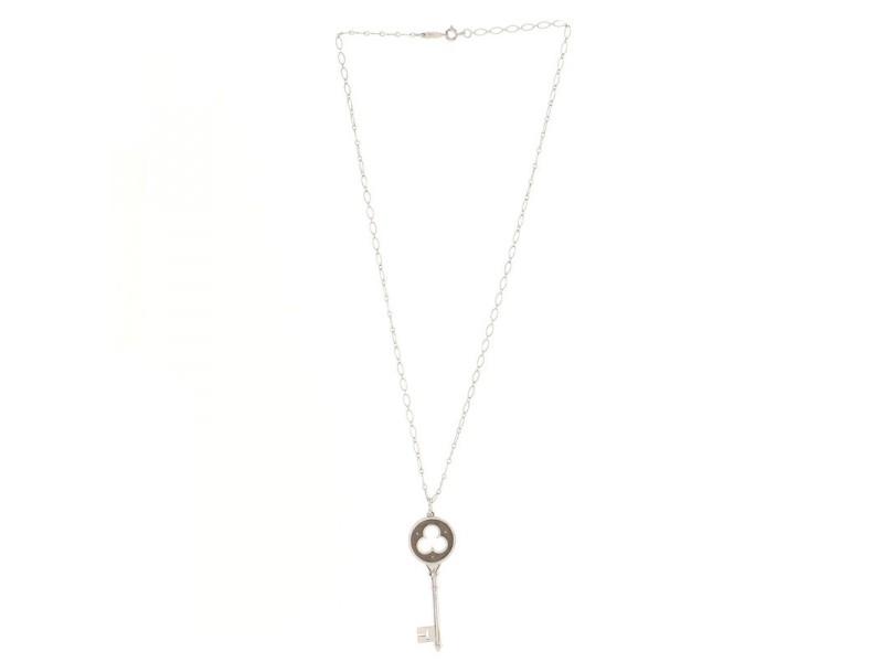Tiffany & Co. Clover Key Pendant Necklace 18K White Gold with Diamonds