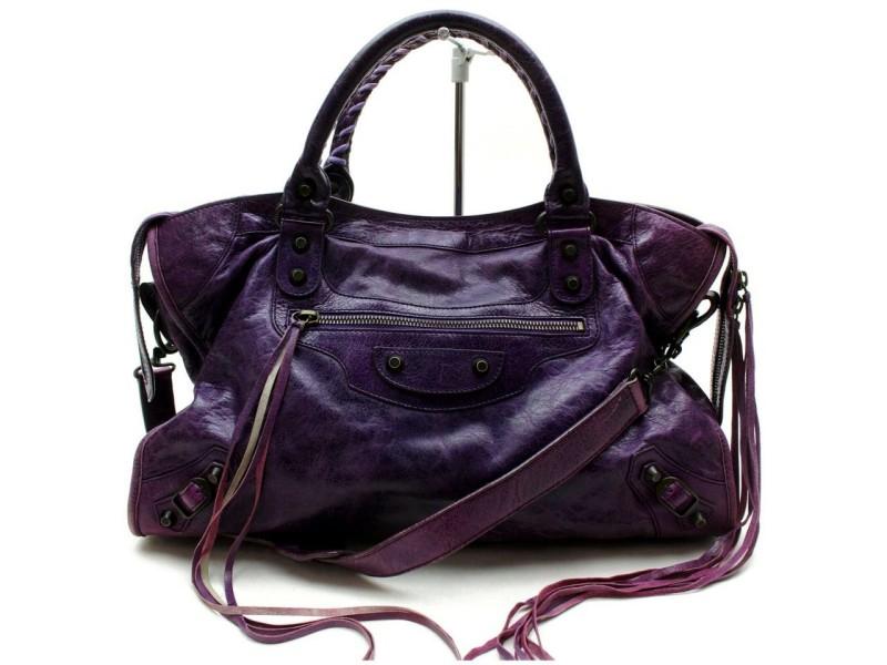 Balenciaga 871993 City 2way Purple Leather Shoulder Bag