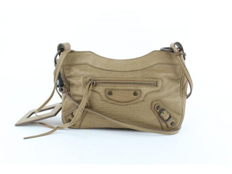 Balenciaga Embossed Lizard Hip 23balz1016 Brown Leather Cross Body Bag