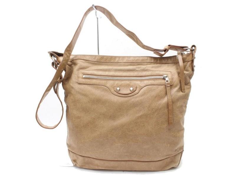 Balenciaga Messenger Hobo Khaki Day Light 869838 Brown Leather Shoulder Bag