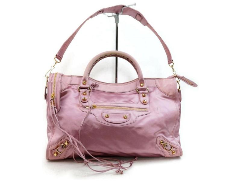 Balenciaga The City 2way 872819 Pink Silk Shoulder Bag