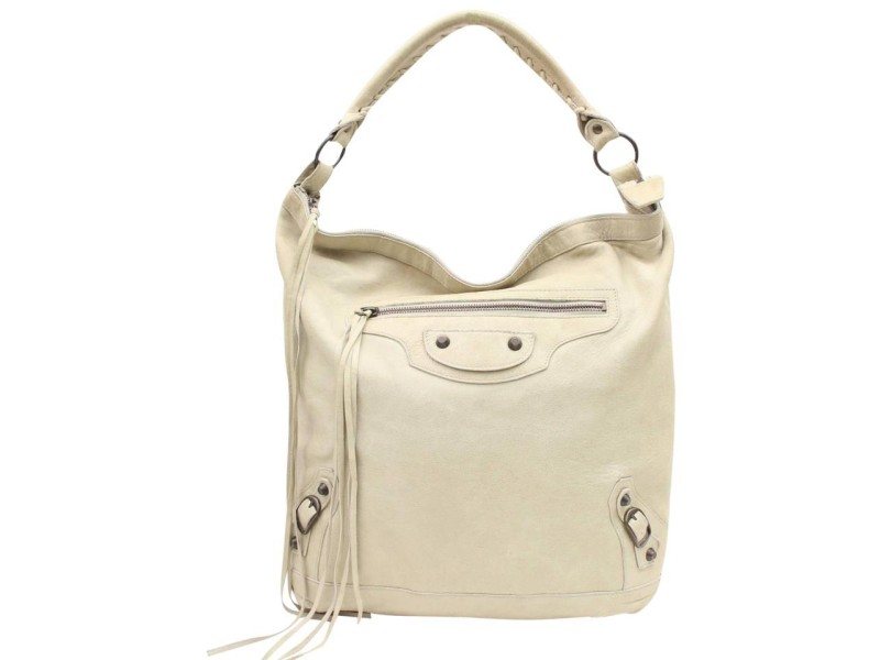 Balenciaga Hobo The Sunday 867764 Ivory Leather Shoulder Bag