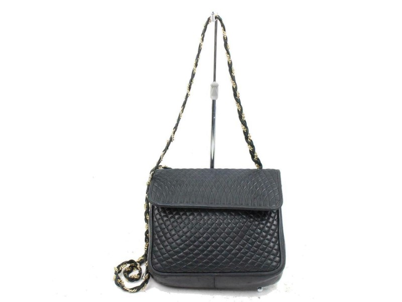Bally Quilted Chain Flap 870749 Black Leather Cross Body Bag