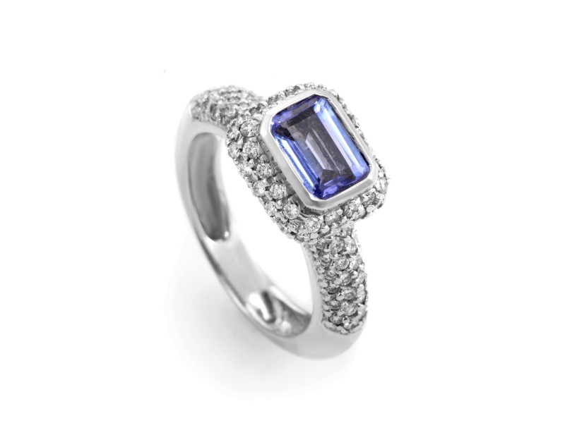 Barry Kronen 18K White Gold Tanzanite and Diamond Ring