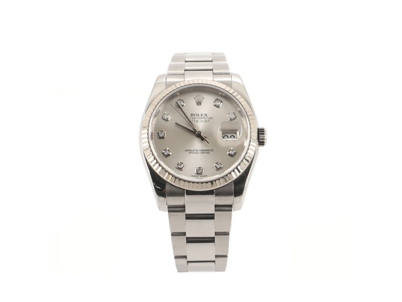 Rolex Oyster Perpetual Datejust Automatic Watch Stainless Steel and White Gold with Diamond Markers 36