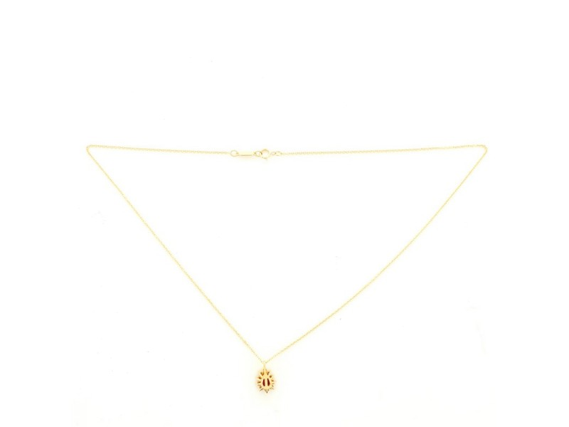 Tiffany & Co. Cluster Pendant Necklace 18K Yellow Gold with Ruby and Diamonds