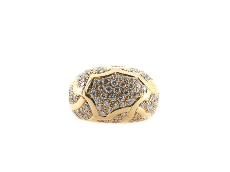 Chanel Camellia Dome Ring 18K Yellow Gold and Diamonds