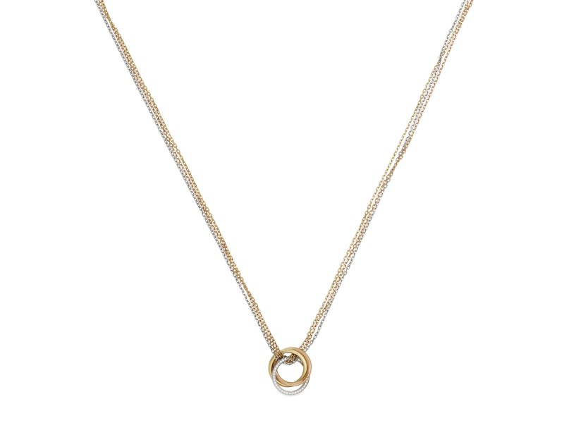 Cartier Trinity Necklace 18K Yellow, White and Rose Gold with 0.19ctw Diamond