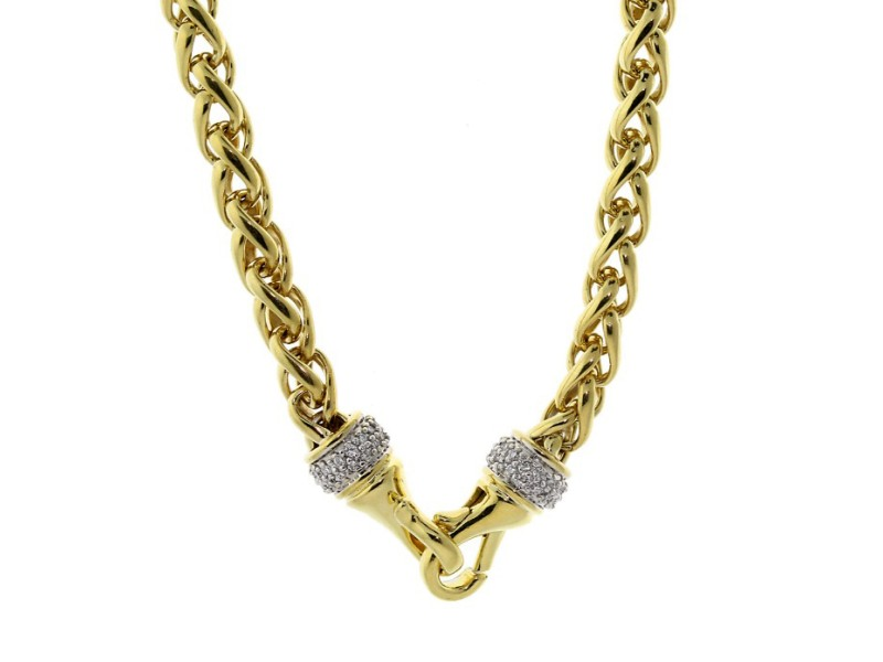 David Yurman Wheat Gold Chain With Diamonds
