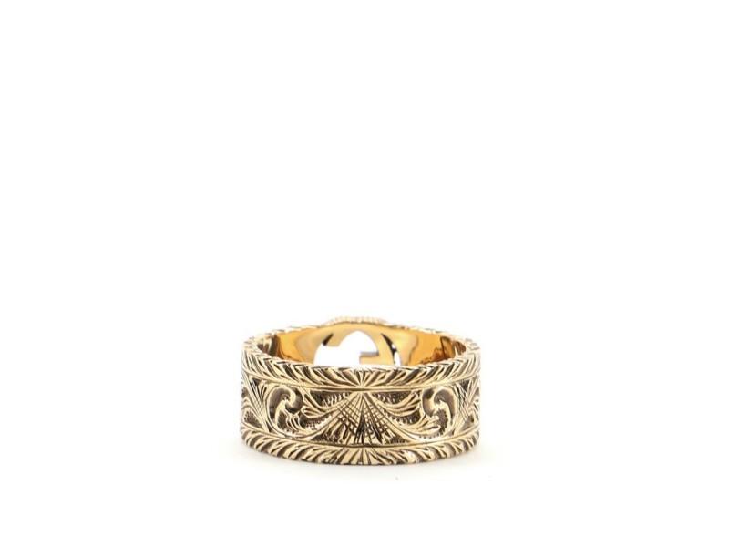 Gucci Interlocking G Arabesque Ring 18K Yellow Gold Wide
