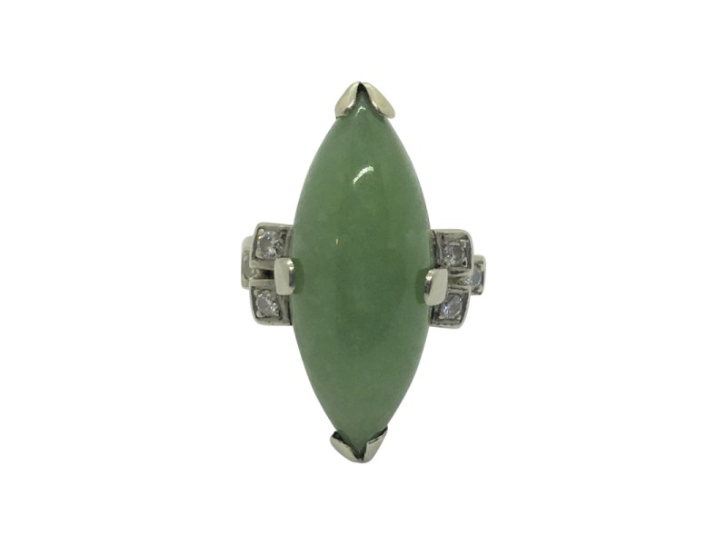 18K White Gold 9.6ct Marquise Cut Jade and Diamond Ring Size 5