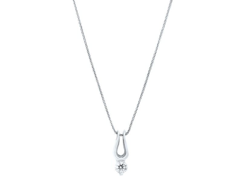 White Gold Herts on Fire Diamond  Pendant Necklace
